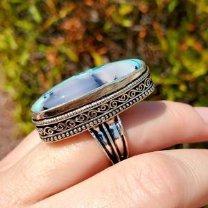 Handmade Jewelry - New Dyed Dendritic Opal 925 Silver Ring.